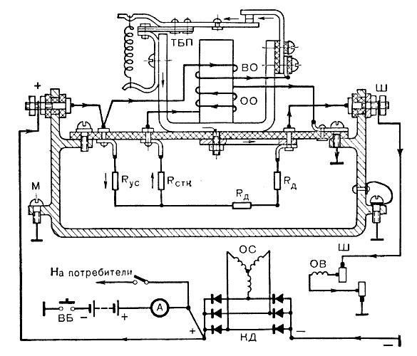 Схема реле-регулятора РР127: