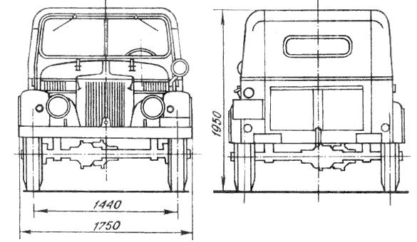 Схема автомобиля ГАЗ-69 (вид